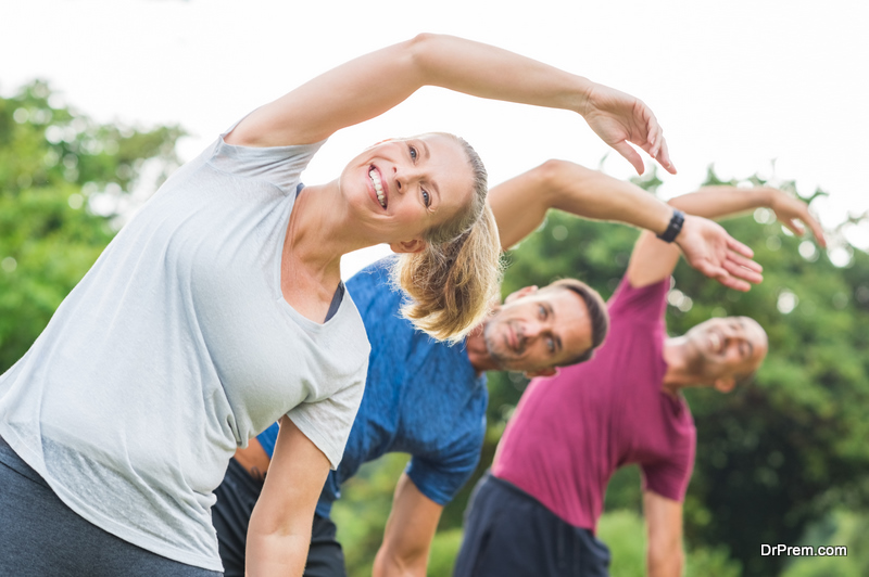group of friends joined yoga class