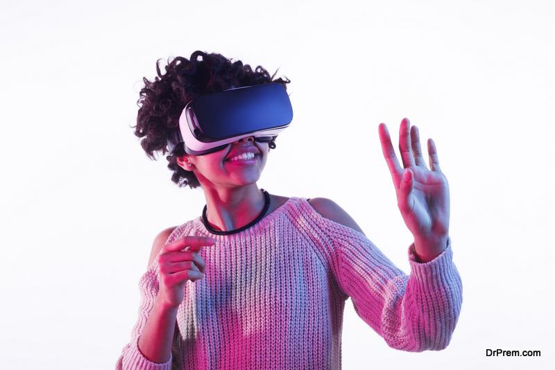young woman on virtual tour