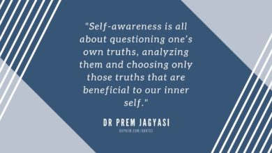 Self-awareness is all about questioning one's own-Dr Prem Jagyasi Quotes