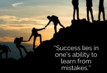 Success lies in one's ability to learn from mistakes- Dr Prem Jagyasi Quotes