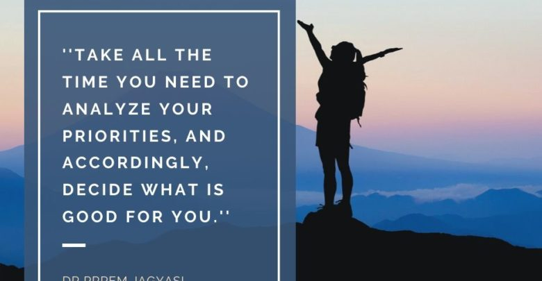 Take all the time you need to analyze your priorities- dr prem jagyasi quotes