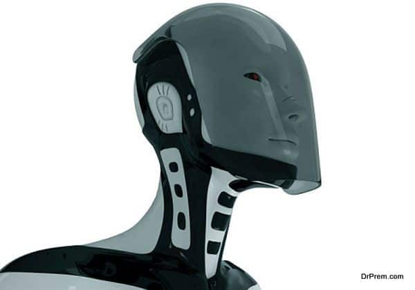 Isolated futuristic robot in glass helmet