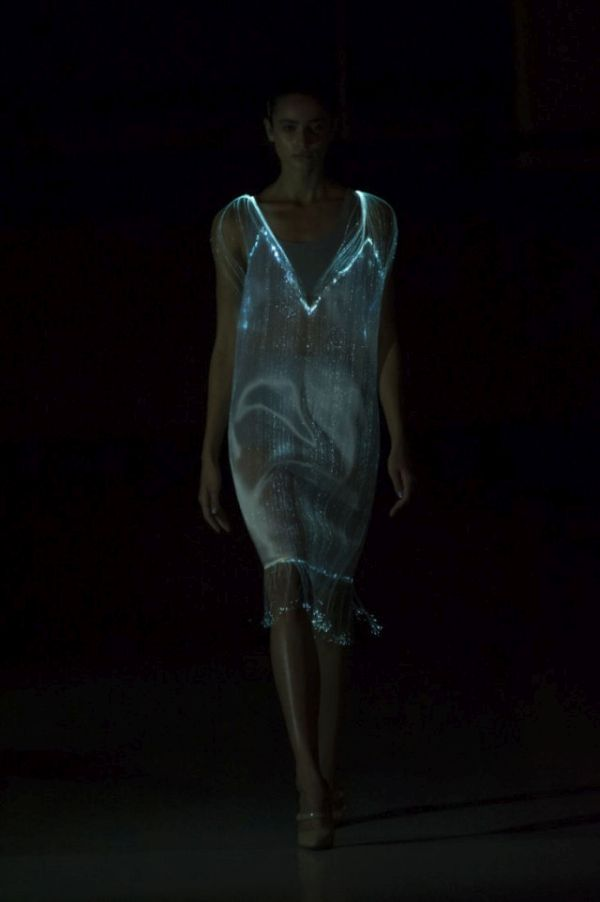 wearable tech in the form of glowing dresses