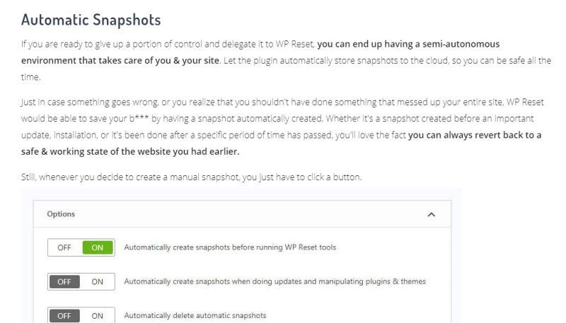Snapshot feature
