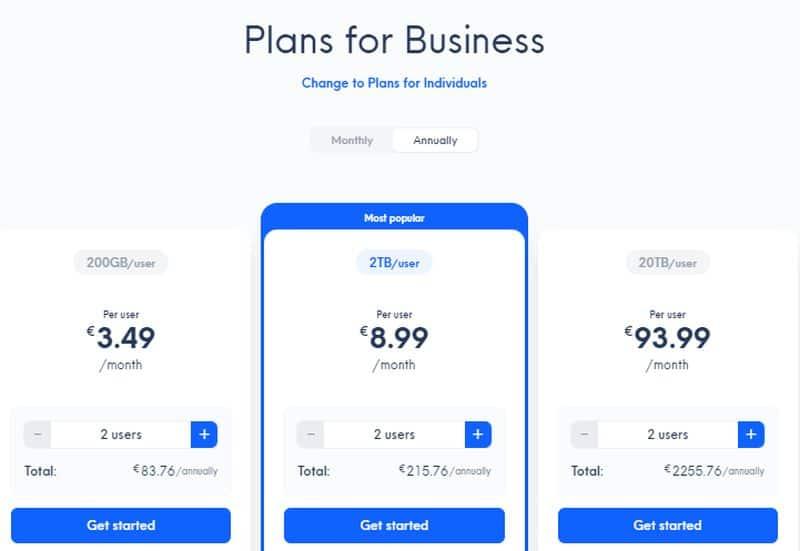 Internxt Pricing