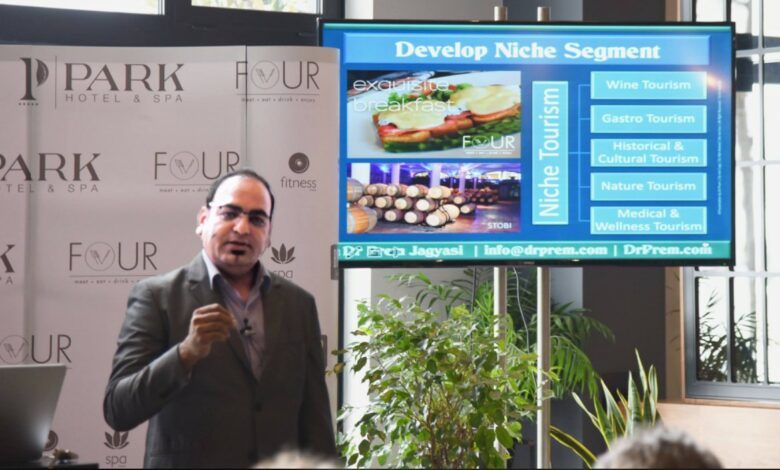 Photo of Delivering Speech About How Macedonia Could Develop Tourism During A Seminar Organized By Park Hotel
