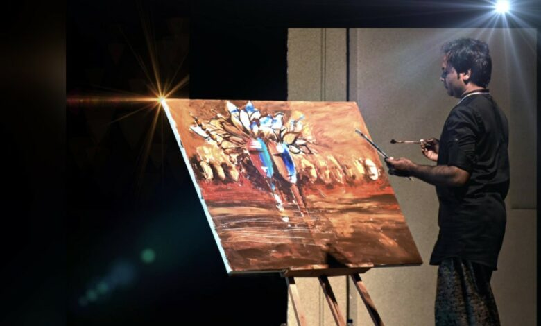 Photo of Invited Artist Manoj Maurya Made Live Paiting During Muscial Show