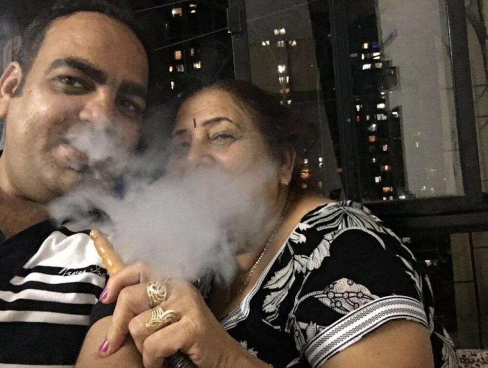 Enjoying Hookah with my Mom on Mothers Day - Dr Prem Jagyasi