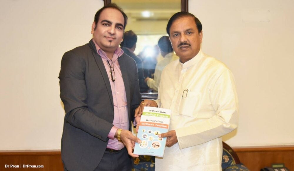 With Honourable Indian Cabinet Minister of Culture, Tourism and Civi Aviation - Dr. Mahesh Sharma BJP - Dr Prem Jagyasi