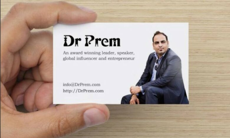 Here Is My New Business Card - Dr Prem Jagyasi