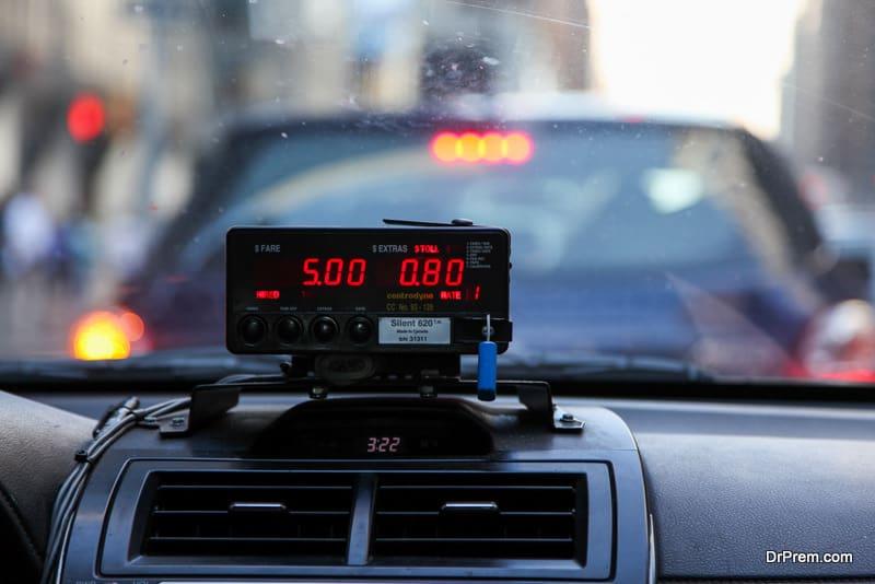 Cab rate meter display in a cab