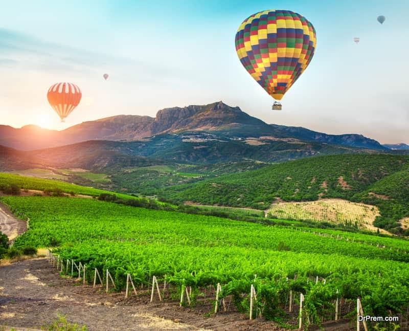 Hot Air Balloon over vineyards