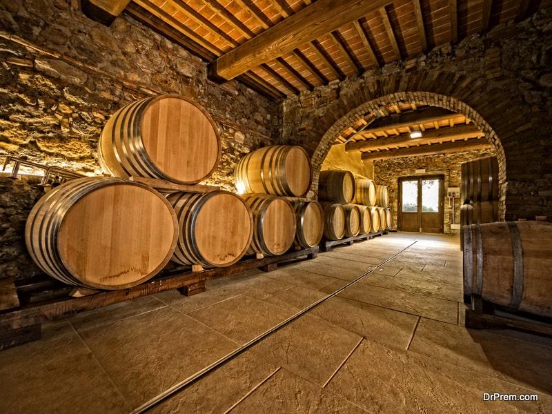 Oak wine barrels in cellar