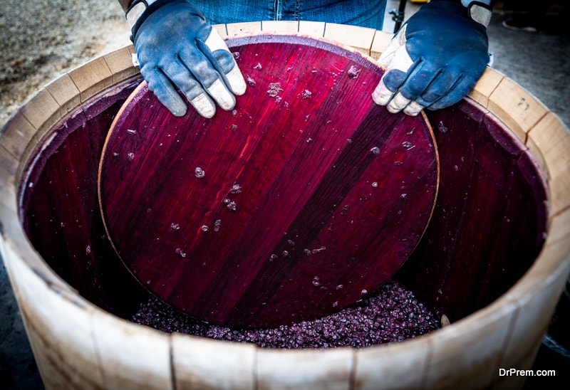 Wine mixing during fermentation process in barrel