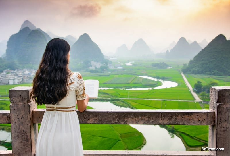 woman at a beautiful tourist site