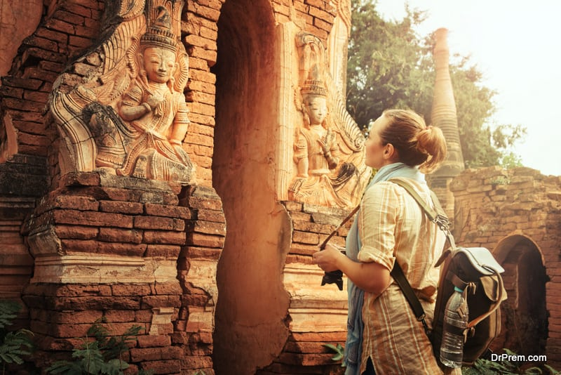 woman visited an ancient temple
