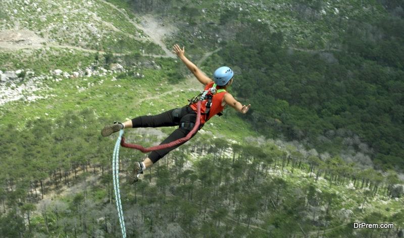 woman enjoying Bungee Jumping