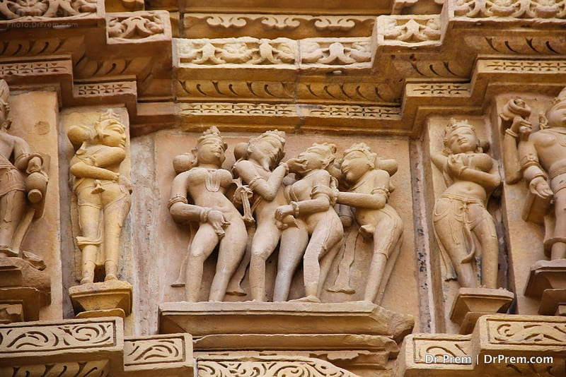 The theme of Khajuraho art is centered on erotica