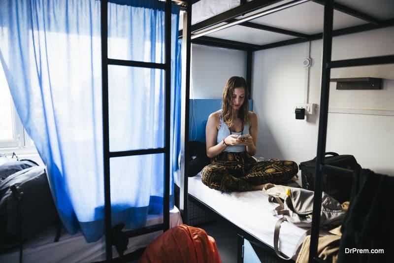 Backpacker staying in hostel