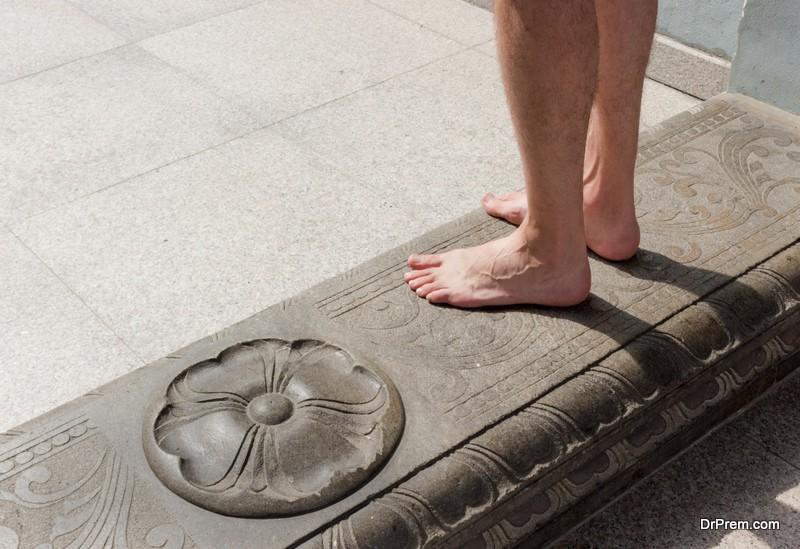 Bare feet in Hindu temple
