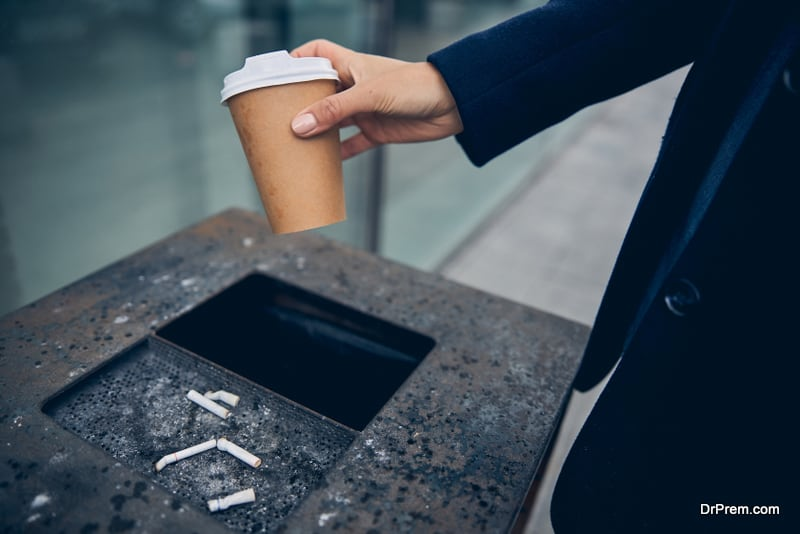 Female caring about environment leaving litter in proper place
