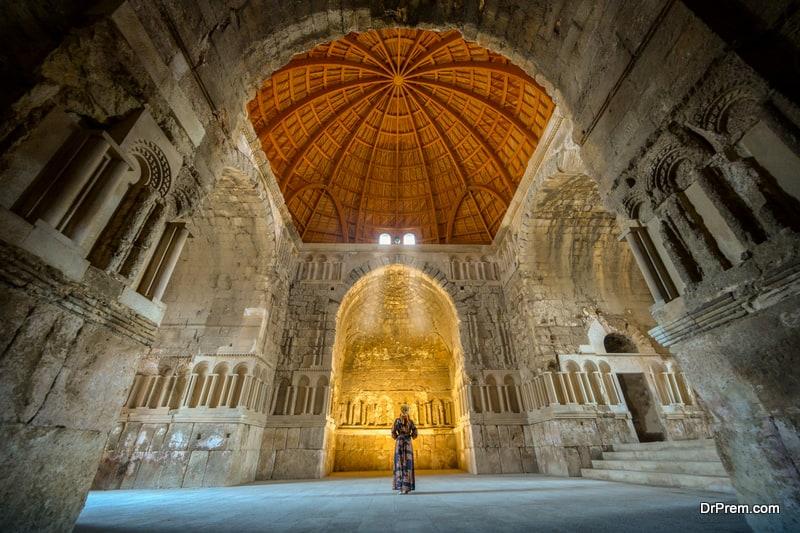 Female in Umayyad mosque, Roman ancient city in Amman capital city of Jordan