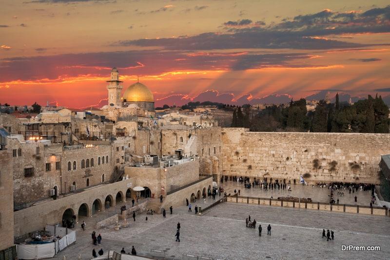 Jerusalem Wailing Wall sunset