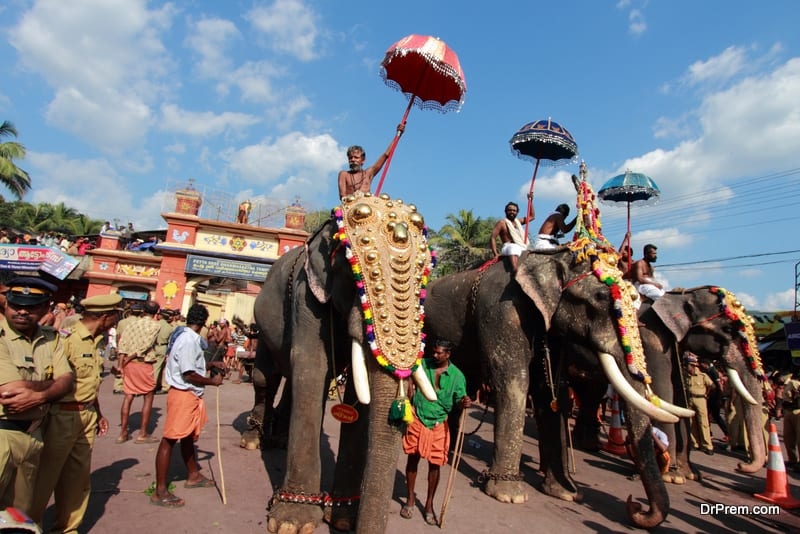 Procession of Ayyappa devotees in Erumeli