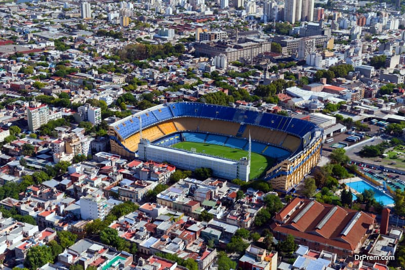 iew from the helicopter for La Boca, Buenos Aires, Argentina