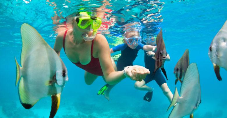 enjoying snorkelling