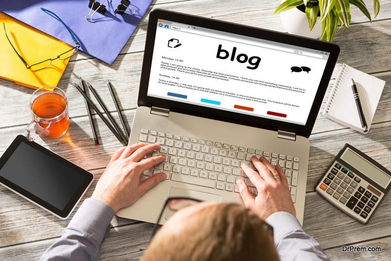 man Blogging the experience