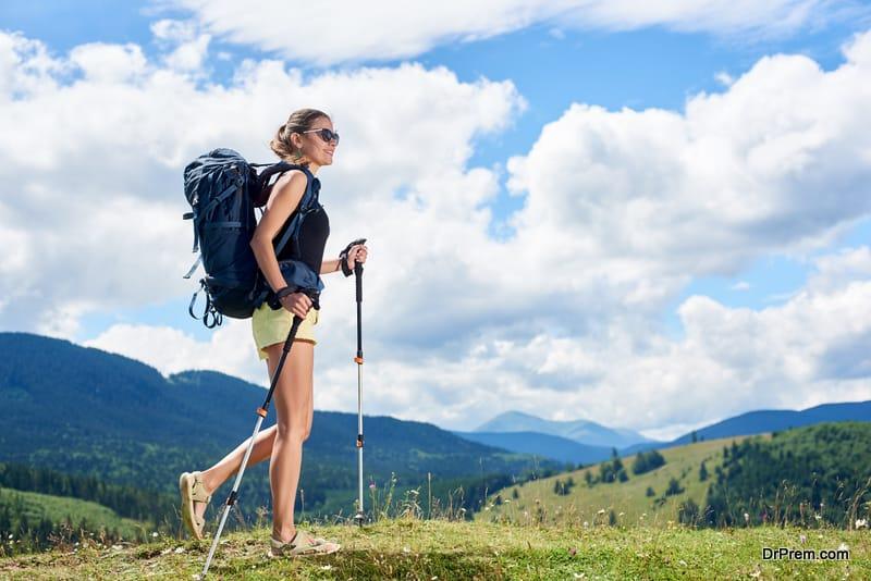 woman Trailing along woods