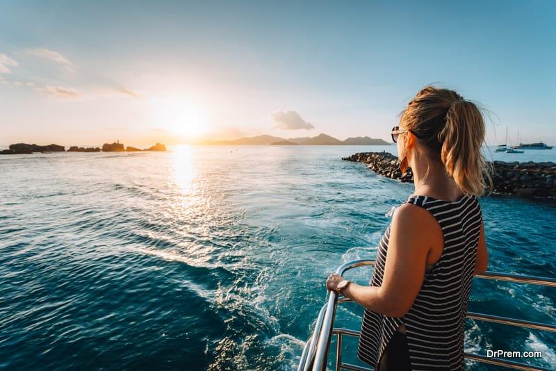 woman enjoying ferry service