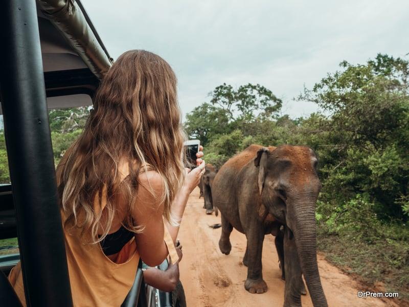 woman on safari trip