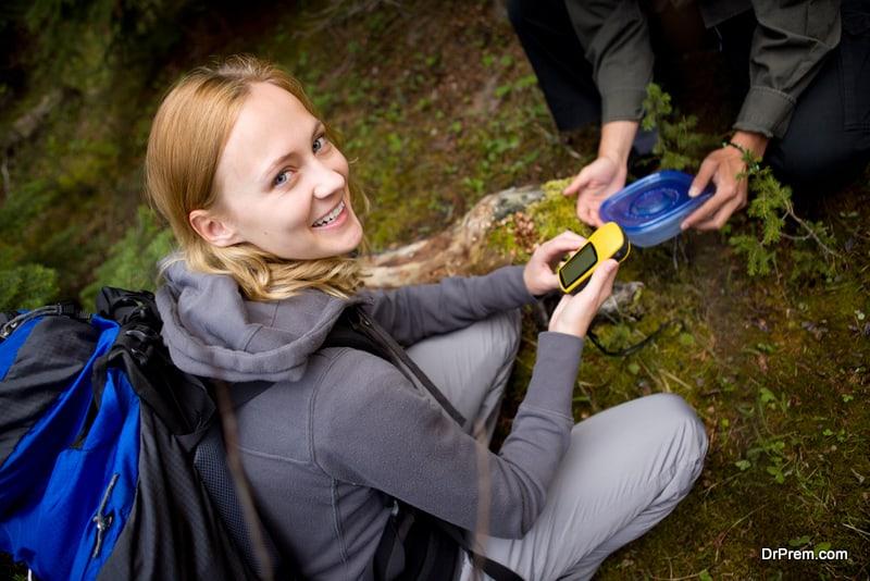 woman using navigation device