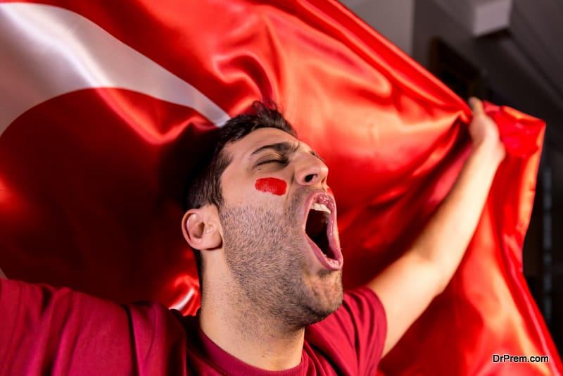 Turkish Guy Waving Turkey Flag