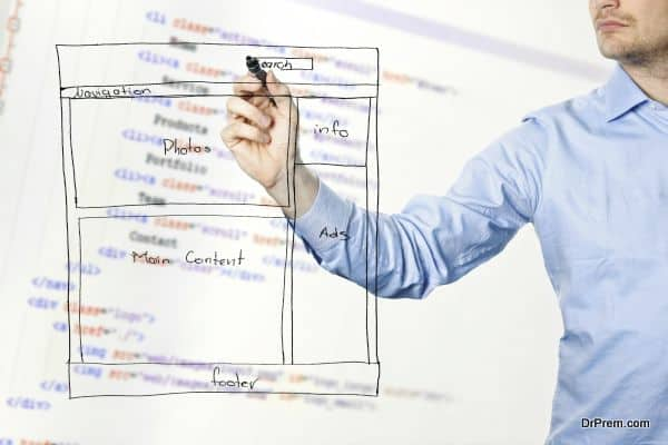 designer presents website development wireframe