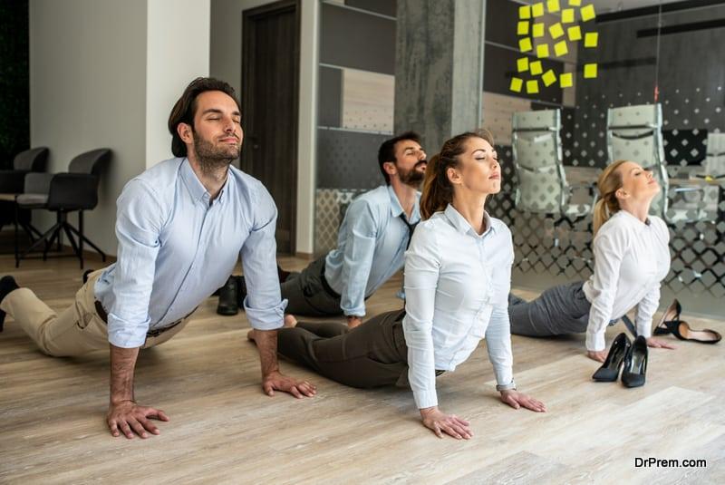 employees attending wellness program