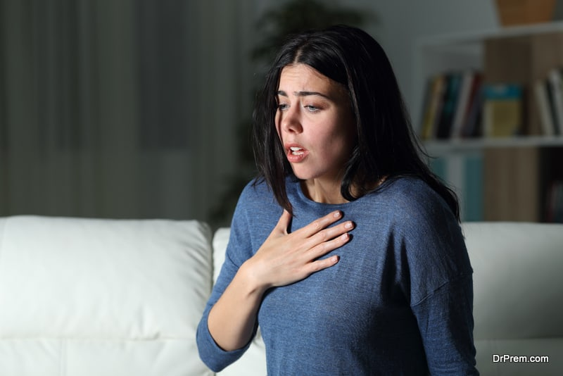 Woman suffering from anxiety disorder