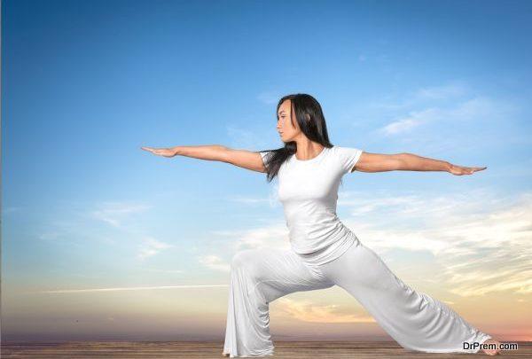 Leg stretching pose