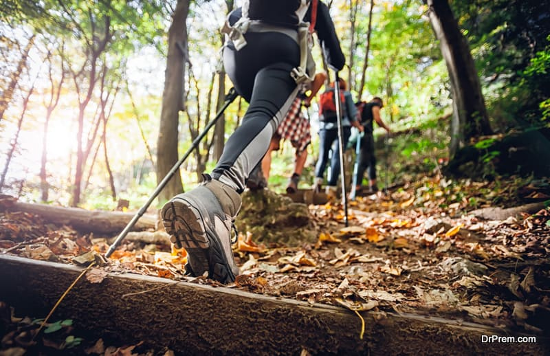Hikers with trekking sticks climbs steep on mountain trail