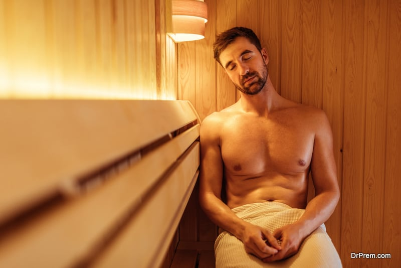 man enjoying natural sauna bath