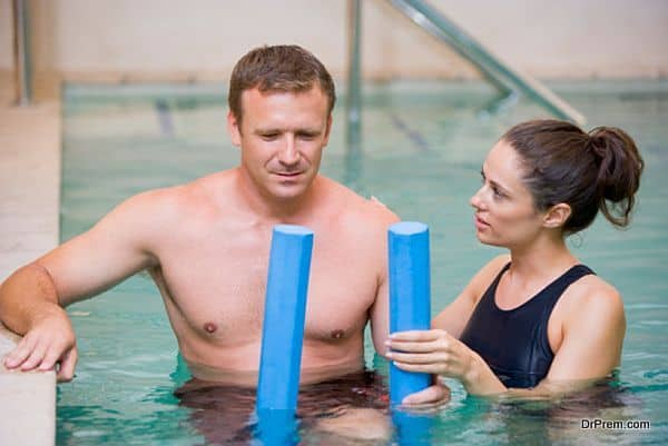 man receiving hydrotherapy
