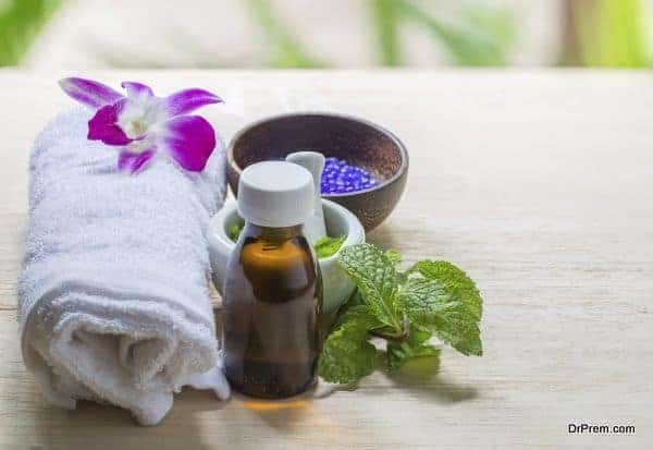 Spa and wellness and towels on wooden background. Relax and treatment therapy.