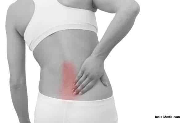 Acute pain in a woman back.