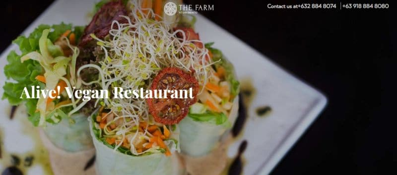 on-site vegan restaurant of Farm Benito