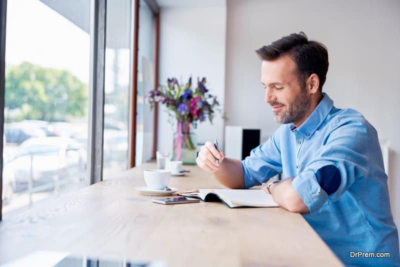 male journaling