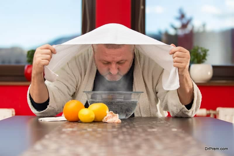 steam inhalation (tuob) to strengthen respiratory health