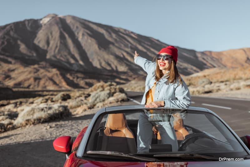 woman on road trip