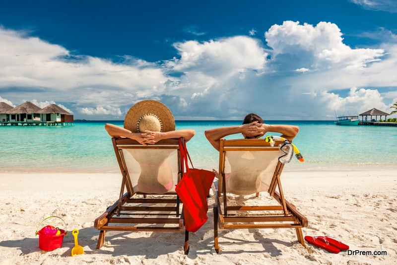 couple on trip at sunny healthy destination